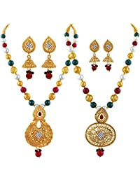 Asmitta Finely White Stone Gold Plated Matinee Style Set Of 2 Necklace Mala For Women