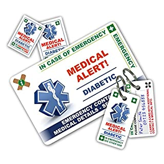 DIABETES In Case of Emergency (I.C.E.) Card Pack with Key Rings & Stickers