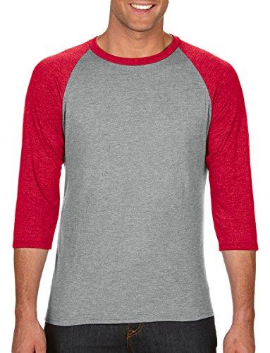 Anvil A6755 Raglan-T-Shirt für Erwachsene, Tri-Blend, 3/4-Ärmel Gr. XXL, Heather Grey/Heather Red -