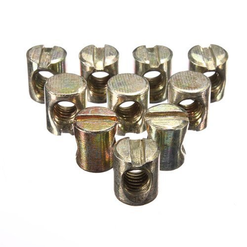 Waterwood 10pcs M6 Barrel Bolts Cross Dowel Slotted Furniture Nut for Beds Crib Chairs, Model: , Tools & Hardware store