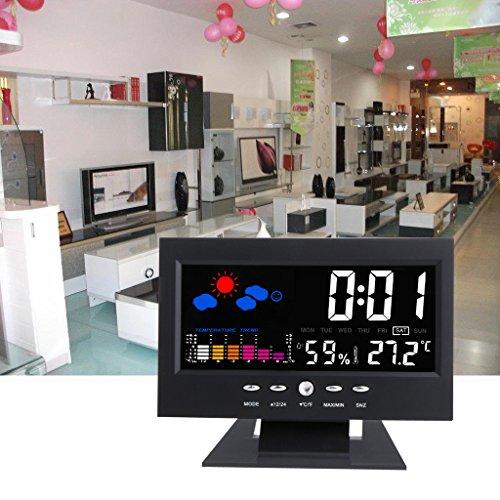FXCO Digitales Flüssigkristallanzeige-Thermometer, Geräuschsteuerung, Bunte Anzeige, Kalender-Hygrometer