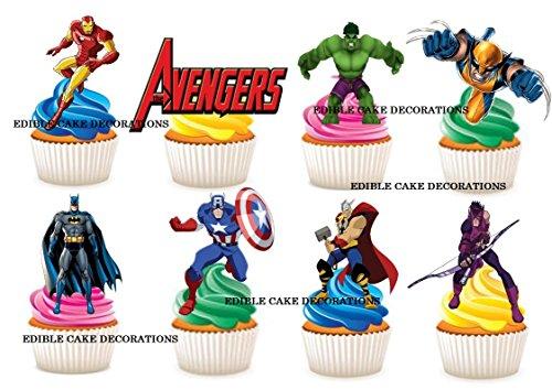 (30x Marvel Super Heroes Avengers Stand Up Essbare Papier Cupcake Topper Kuchen Dekorationen)