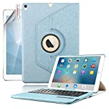 Ipad Air 2 Bluetooth Tastatur Hülle, Boriyuan 360 Grad drehbar Leder Case Schutz Tasche Cover mit Bluetooth Wireless Tastatur (Deutsche QWERTZ) keyboard case für Apple Ipad Air 2 (Blau)