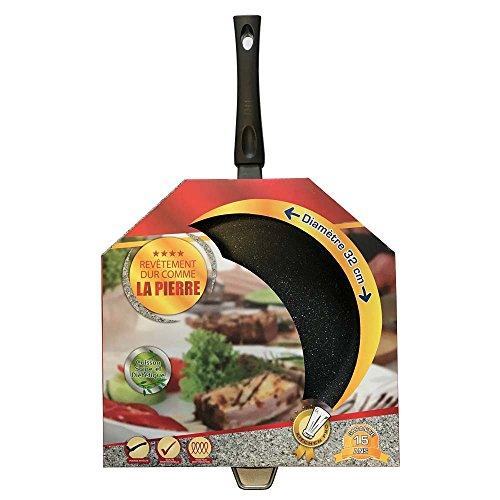 Kitchen Pro - Poêle en pierre tous feux dont induction + 2 disques anti-rayures (Poêle en Pierre 32 cm)