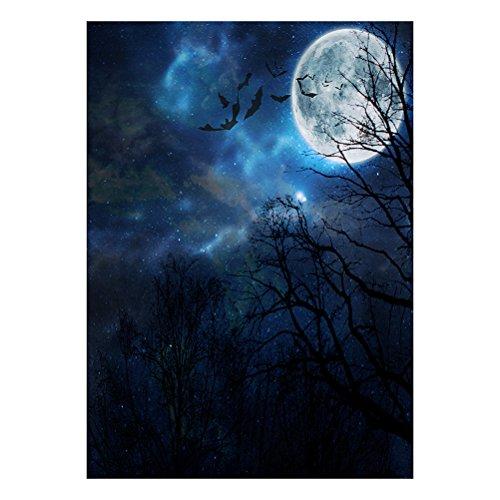 LEDMOMO Halloween Foto Hintergrund Fotografie Hintergrund Horror Woods Nacht Mond Hintergrund Studio Prop 90x150cm