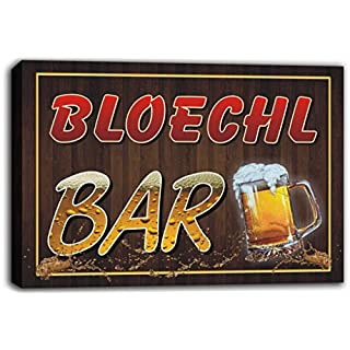 scw3-085004 BLOECHL Name Home Bar Pub Beer Mugs Cheers Stretched Canvas Print Sign