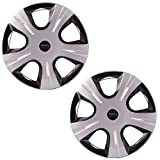#5: Autofy 14-inch 5 Spokes Snap-On Wheel Cap (Set of 2, Grey and Black)