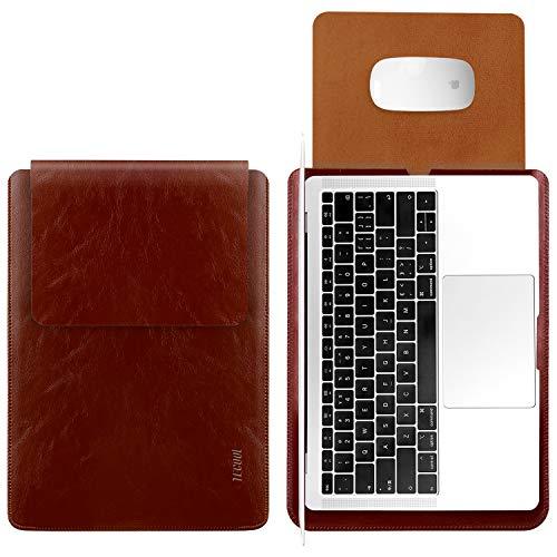 TECOOL Laptop Hülle 15 Zoll Tasche, Laptop Sleeve wasserdichte Notebooktasche Kunstleder Schutzhülle für MacBook Pro 15,4 Retina A1398, MacBook Pro 15 Touch Bar A1707 / A1990, Dell XPS 15 -Braun (Xps-touch)