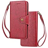 HUDDU Compatible for HTC U11 Hülle, Flip Ledertasche Extra Dünn Wallet Handyhülle Brieftasche Schutzhülle Vintage Business Etui Tasche Case Cover Stand Kartenfach - Rot