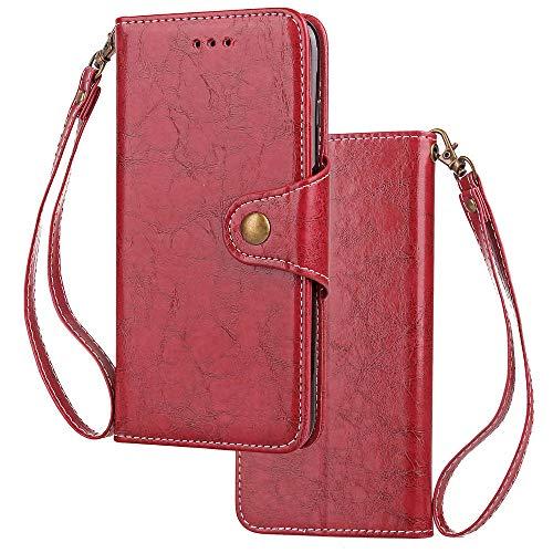 HUDDU Compatible for HTC U11 Hülle, Flip Ledertasche Extra Dünn Wallet Handyhülle Brieftasche Schutzhülle Vintage Business Etui Tasche Case Cover Stand Kartenfach - Rot