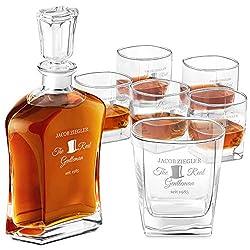 Murrano Whisky Set mit Gravur - Whisky Karaffe + 6 Whiskygläser - 700ml - personalisiert mit Namen und Datum - Whiskey Dekanter Set - Whiskyflasche mit Whiskyglas - Whisky Geschenk - Set