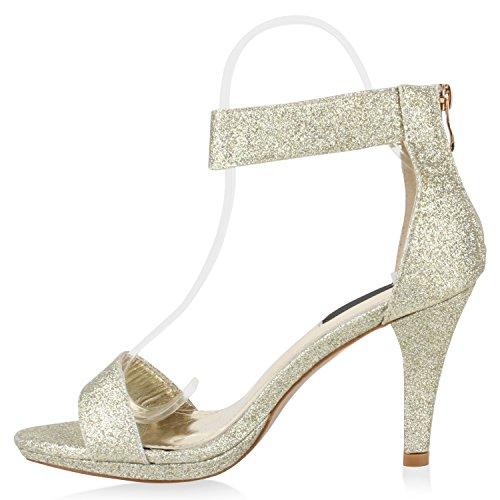Damen Lack Sandaletten   Stiletto Sandalen Glitzer   Strass Schuhe Party Sommer   Riemchensandaletten Metallic T-Strap Gold Glitzer Bernice