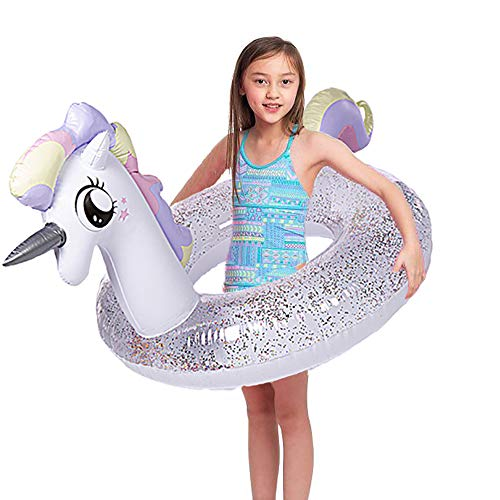 "Wishtime Gigante Gonfiabile Piscina Galleggiante 36 ""Pollici Piscina Unicorno Galleggiante con Glitter all'Interno, Nuotata Innertube per Bambini e Adulti"