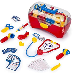 Bayer Design Juguete Maletín de Doctor-Juegos, médico kit-34 PCs, Color rojo 79178AA