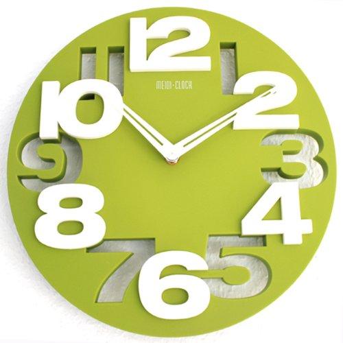 Design moderno orologio da parete da cucina baduhr office clock decorazione silenziosa lku-verde, nuovo