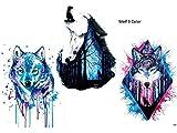 WOLF TATTOO WASSERFARBEN BUNT 3 SHEETS Arm Oberarm Tattoo Fake Tattoo Wolf 3 Color