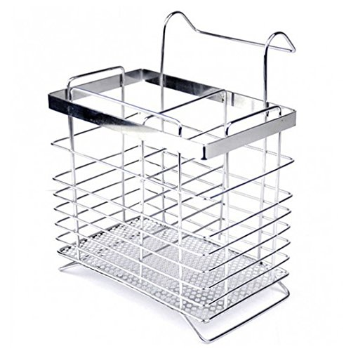 Swallowzy Utensil Drying Rack-Stainless Steel Hanging 2 Compartments Mesh Utensil Drying Rack/ Chopsticks/Spoon/Fork/Knife Drainer Basket Cutlery Flatware Storage Drainer,Rectangle Type