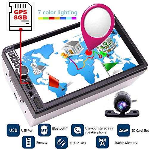 EINCAR HD Digital Kapazitive Touch-Screen 7inch Empfänger Bluetooth GPS-Auto-Bluetooth-Stereo-freie Kamera 8GB Karte Karte Navigator Auto-Video-Player USB SD Aux Multimedia Autoradio FM AM GPS-St 32-zone Control Panel