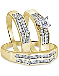 Silvernshine 2.45 Ct Diamond 14k Yellow Gold Finish His & Her Engagement Bridal Trio Ring Set