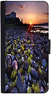 Snoogg Sunset On The Rocky Shore Designer Protective Phone Flip Back Case Cover For Xiaomi Redmi Note 3
