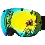 ZIONOR Professional Snowmobile Snowboard Skate Ski Goggles and Super Wide Angle Double Lens Anti-fog Big Spherical Unisex Adult Multicolor Ski Goggles 2300