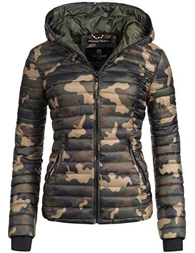 Navahoo Damen Jacke Übergangsjacke Steppjacke Kimuk (vegan hergestellt) Camouflage Gr. XXL