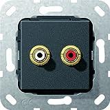 Gira 563310 Cinch Audio Kabelpeitsche Einsatz, schwarz matt