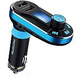 VicTsing PA39D - Transmisor de FM para coche (Bluetooth, USB, micrófono incluido), color negro y azul