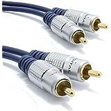 Pur cuivre desoxygéné HQ 2 x RCA Cinch Fiches Vers Fiches Stéréo Audio câble Plaqués Or 2 m