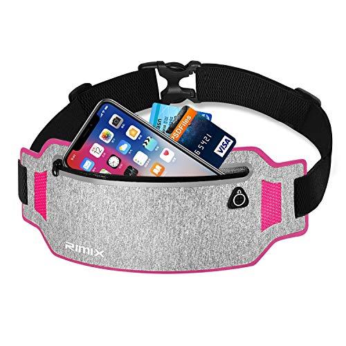 EXski Bauchtasche Flache Lauftasche Jogging Handy Gürteltasche Leicht Sport Hüfttasche Laufen für iPhone X 8 7 Plus Samsung 6,1 Zoll Damen Herren, Rot -