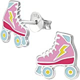 Pendientes con patines en linea de Jayare, de plata de ley 925, pendientes infantiles de 9 mm, en color rosa y azul, para niña