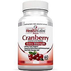 Health Labs Nutra 50:1 dreifachstarkes Cranberry Konzentrat mit Vitamin C&E – verbessert die Gesundheit der Harnröhre und unterstützt das Immunsystem (60 schnell wirkende Weich-Gelkapseln)
