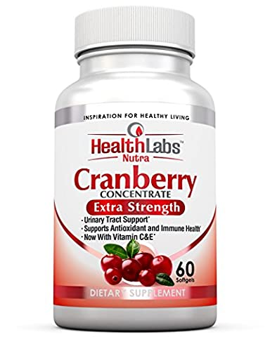 Health Labs Nutra 50:1 Triple-Strength Cranberry Concentrate with Vitamins C & E - Promotes Urinary Tract and Immune Support (60 Fast-Acting Softgels)