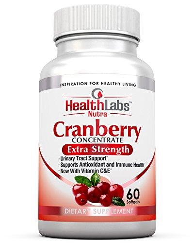 Health Labs Nutra 50:1 dreifachstarkes Cranberry Konzentrat mit Vitamin C&E – verbessert die Gesundheit der Harnröhre und unterstützt das Immunsystem (60 schnell wirkende Weich-Gelkapseln) (Labs Cranberry)