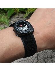Denshine Correa de reloj Brújula Negro Banda de nylon con cierre de velcro Brújula