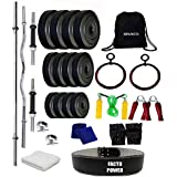 SPANCO Home Gym With Weight Plates 50Kg. (3 Kg. X 4 = 12 Kg. + 5 Kg. X 6 = 30 Kg. + 2 Kg. X 4 = 8 Kg.), Dumbell Rods, Straight Rod, Curl Rod & Gym Gloves, Skipping Rope, Sweat Band, Back Pack Bag, Hand Gripper, Roman Ring, Gym Towel & Gym Belt