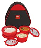Cello Max Fresh Plastic Lunch Box Set, 3-Pieces, Red (CMF_TRI LUNCH_RED)