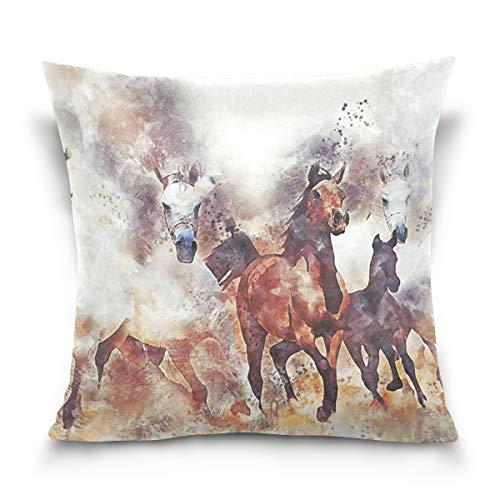 LAZEN Pferde Home Decor Square Kissenbezug weichen Schlafzimmer Kissenbezüge 20 x 20 Zoll Zimmer Throw Pillow Cover