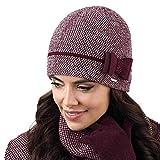Kamea Bolonia Dame Mütze Wintermütze Kopfbedeckung Elegant, Weinrot,Uni