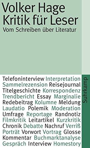 Kritik für Leser: Vom Schreiben über Literatur (suhrkamp taschenbuch)