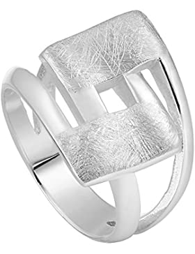 Vinani Ring Design Viereck geschwungen gebürstet massiv Sterling Silber 925 2RHL
