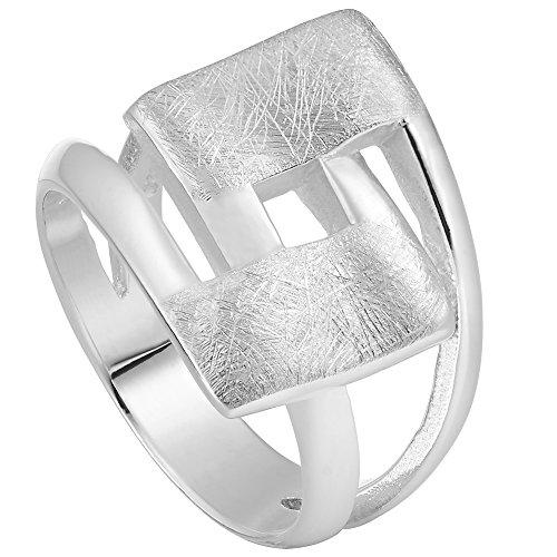 Vinani Ring Design Viereck geschwungen gebürstet massiv Sterling Silber 925 Größe 64 (20.4) 2RHL-64