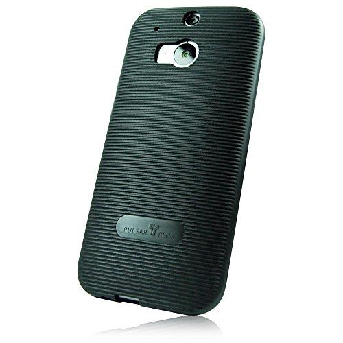 """PULSARplus Handyhülle HTC One M8 / M8s Hülle Case """"Grip"""" schwarz - Dünne Schutzhülle als edles Zubehör für das Original HTC One M8 / M8s"""