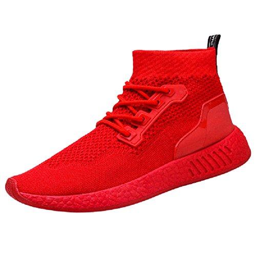 Chaussures Homme 2018 Nouveau Style Mode Hommes Haute Aide Doux Sole Chaussures De Course Gym Chaussures Chaussettes Chaussures (43, Rouge)