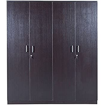 HomeTown Prime 4-Door Wardrobe (Matte Finish, Wenge)