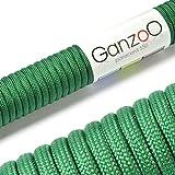 Paracord 550 Seil gras-grün | 31 Meter Nylon-Seil mit 7 Kern-Stränge | für Armband | Knüpfen von Hunde-Leine oder Hunde-Halsband zum selber machen | Seil mit 4mm Stärke | Mehrzweck-Seil | Survival-Seil | Parachute Cord belastbar bis 250kg (550lbs) - Marke Ganzoo