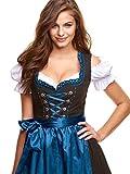 Adelstrachten Dirndl Damen KF017 mit Bluse und Schürze 3 teilig- Größe: 48, Schwarz/Blau Test
