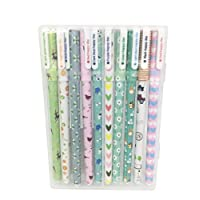 Qinlee Multi Colors Colorful Gel Pens Cute Animals Writing Ballpoint Pen 10 Colors 10 Pens Set for Xmas Birthday Gift School Office Family Stationery