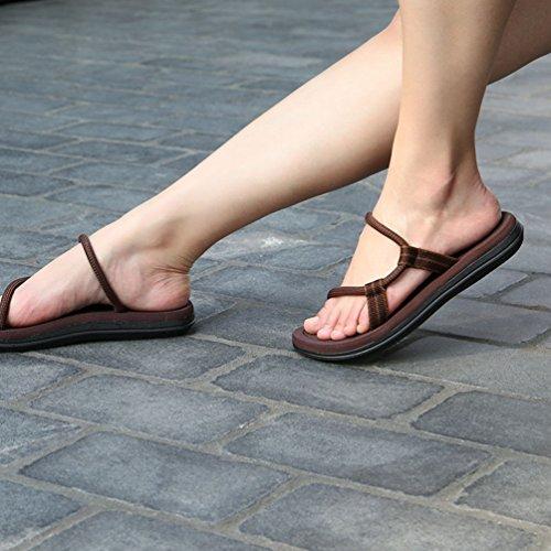 CHENGYANG Herren Damen Unisex Flip Flops Schuhe Strand Slipper Flip-Flops Zehentrenner Sandalen Braun#Damen