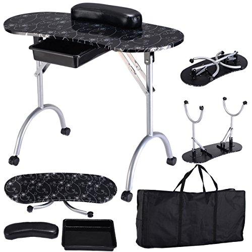 Preisvergleich Produktbild COSTWAY Tragbare Maniküretisch Nageltisch Kosmetiktisch Schreibtisch Workstation Handgelenkauflage mit Tasche (Schwarz)